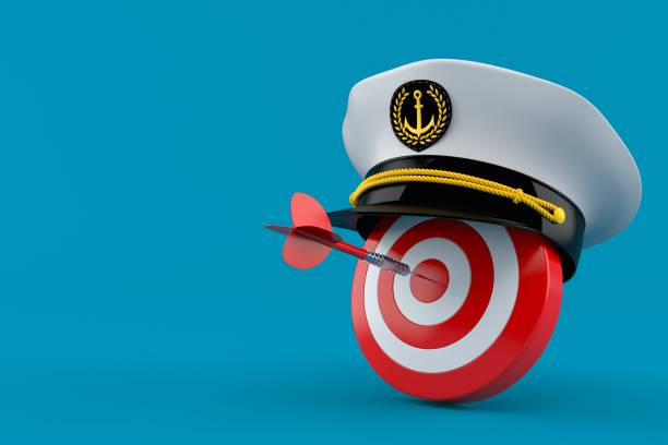Bull's eye with captain's hat Bull's eye with captain's hat isolated on blue background. 3d illustration sailor hat stock pictures, royalty-free photos & images