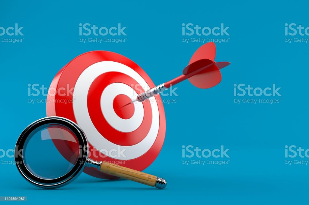 Bull\'s eye with magnifying glass isolated on blue background. 3d...