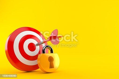 Bull's eye with padlock isolated on orange background. 3d illustration