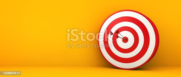 bullseye on yellow background 3d rendering