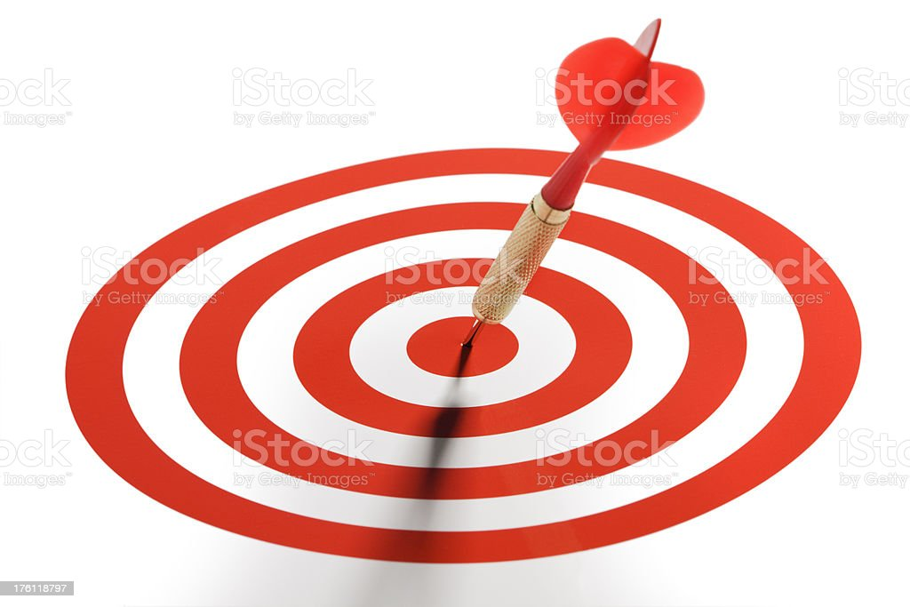 Bull's-eye - Red Dart in the Center of Target royalty-free stock photo