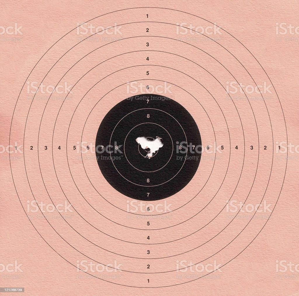 Bullseye - Target with several shots through the centre XL stock photo