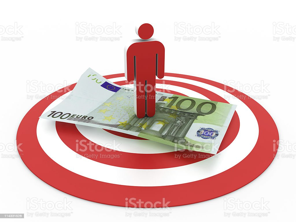 Bull's-Eye with People and Euro Bill royalty-free stock photo