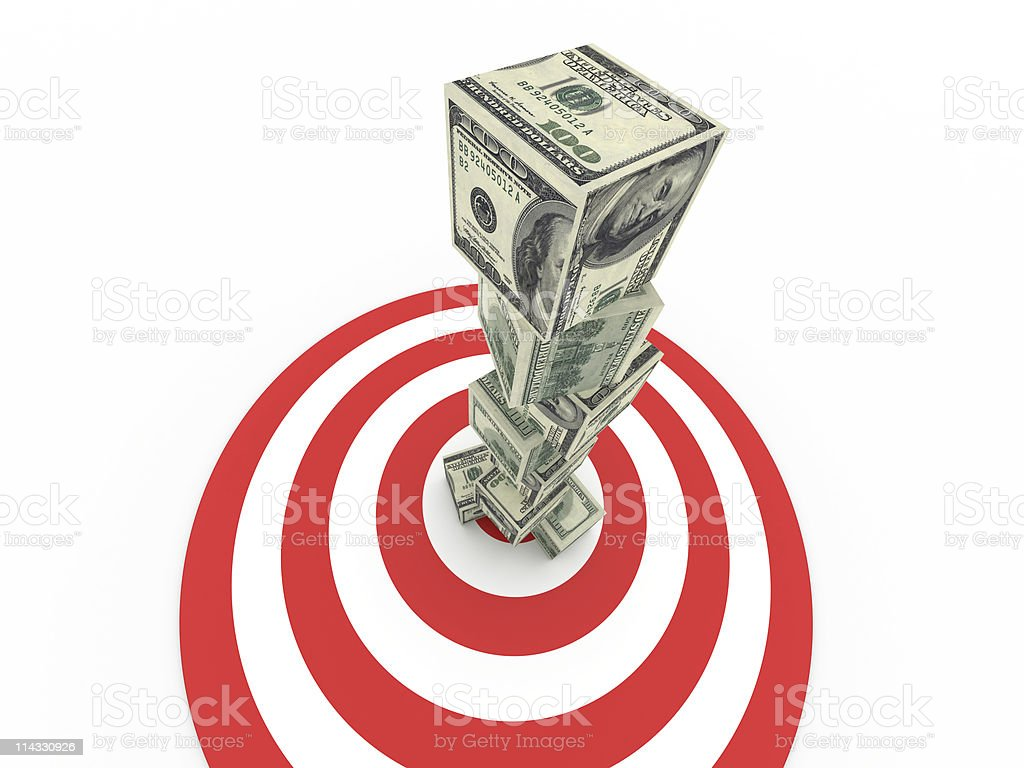Bull's-Eye with Stacked Dollar Bill Cubes royalty-free stock photo