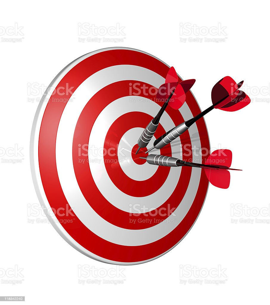 3-D bull's-eye with three darts right in the center stock photo