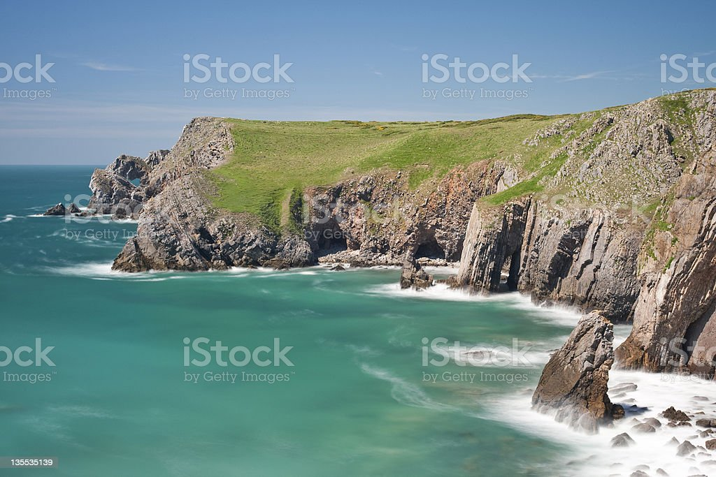 Bullslaughter Bay cliffs towards Moodys Nose, Pembrokeshire, Wales, UK stock photo