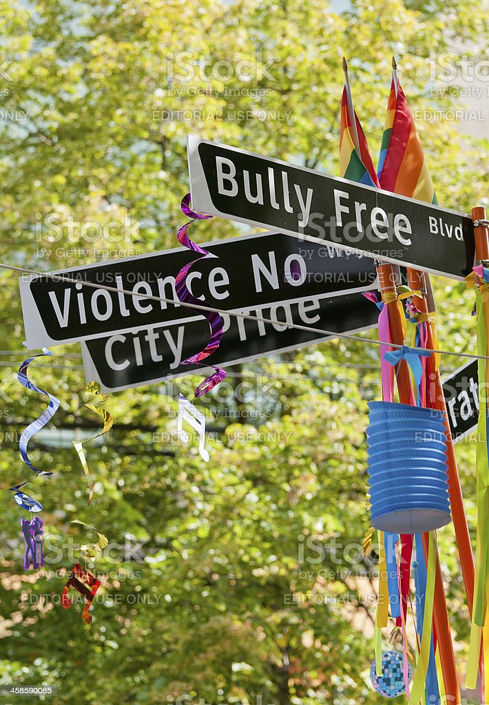 Bully Free Blvd  and Gay Pride Signs royalty-free stock photo