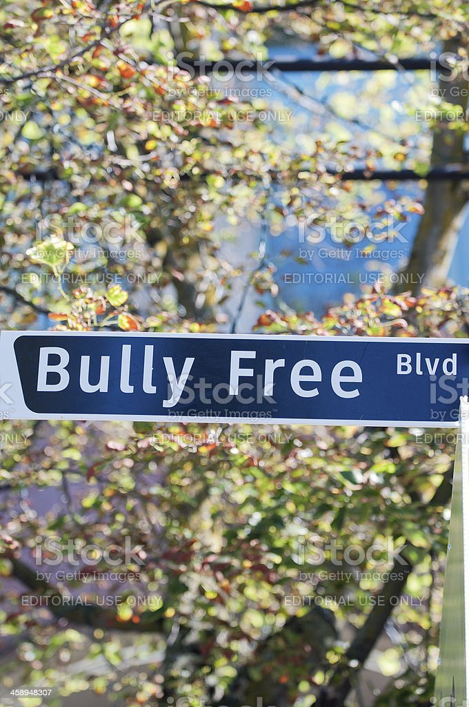 Bully Free Blvd Sign royalty-free stock photo