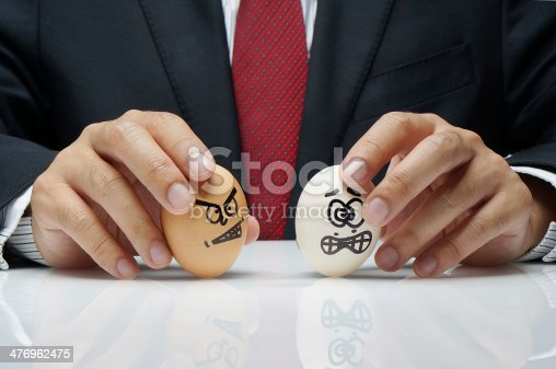 istock Bullying concept in workplace with angry and afraid eggs charact 476962475