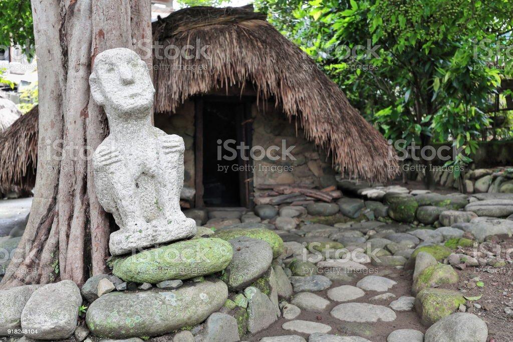 Bulul idol-ulog sleeping hut for young girls. Bontoc-Mountain region-Philippines. 0206 stock photo