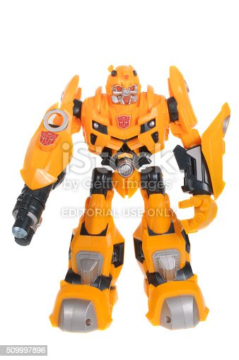 Adelaide, Australia - February 09, 2016: A studio shot of a Bumblebee Action Figure from the Transformers. Transformers is a popular animated and movie series. Toys from the series are highly sought after collectables.
