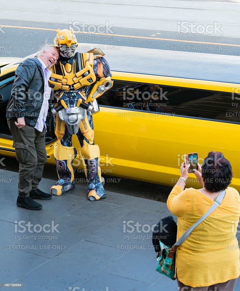 Bumblebee character and fans stock photo