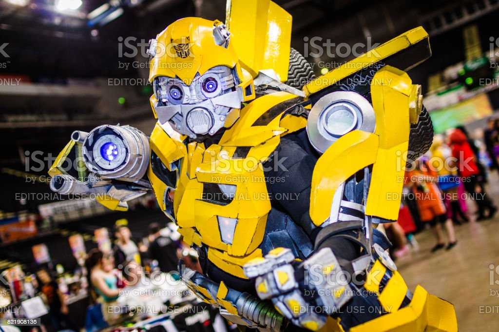 Bumblebee from Transformers cosplay stock photo