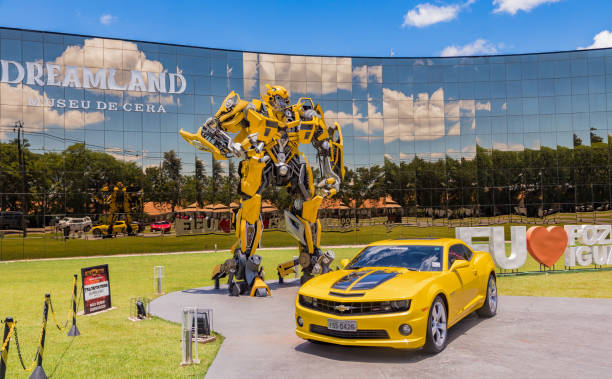 """bumblebee transformer in front of the wax museum """"dreamland"""" in foz do iguacu near the famous iguacu falls. - transformers stock photos and pictures"""