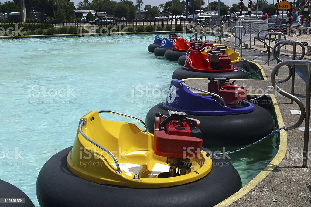 Bumper Boats at Rest stock photo