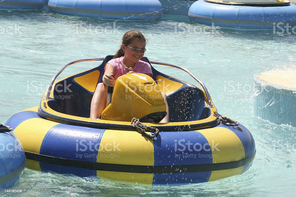 Bumper boats ride at waterpark  stock photo
