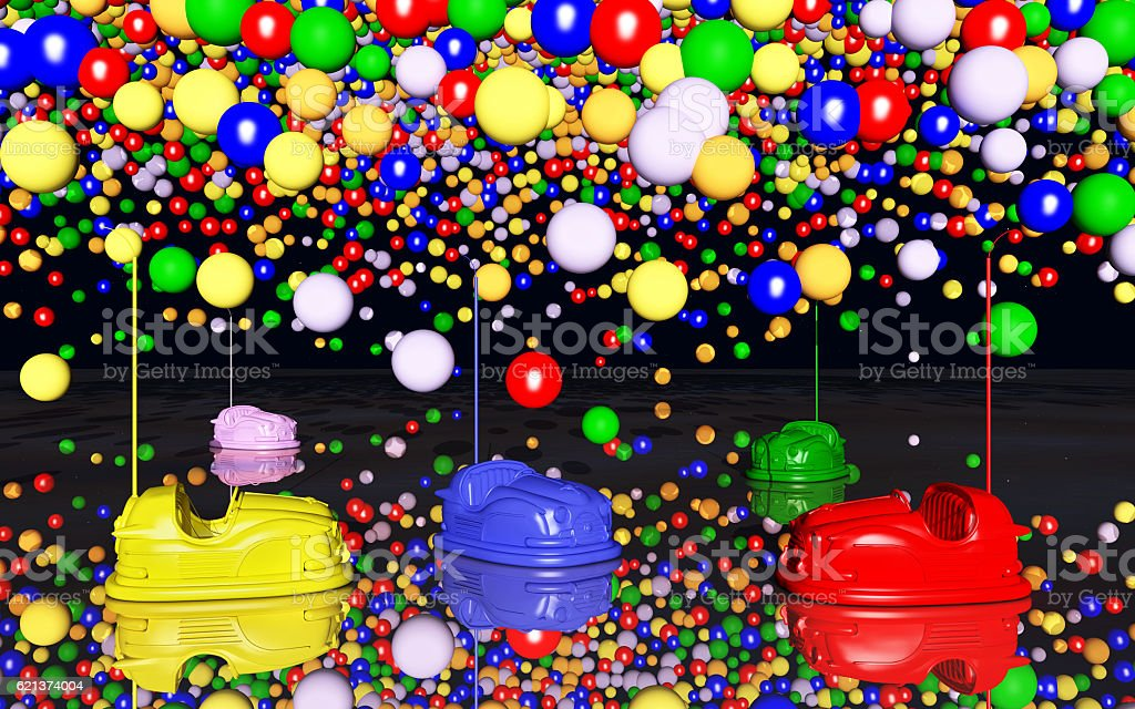Bumper cars and toy balloons stock photo
