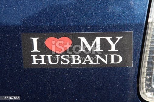 Bumper sticker about a woman and a man