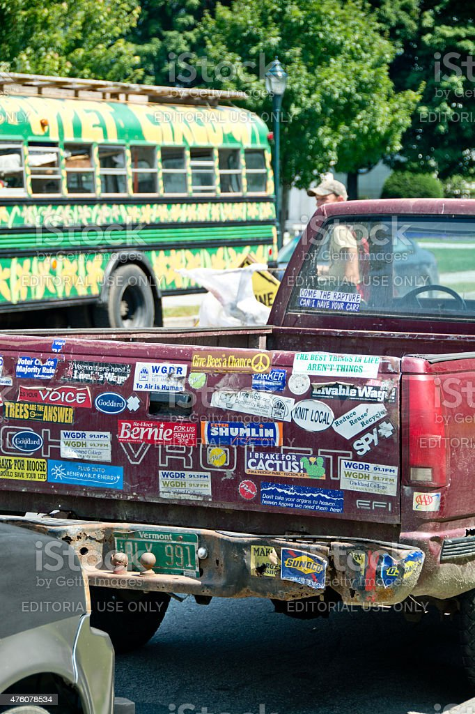 Bumper stickers at climate change rally in Montpelier, Vermont stock photo