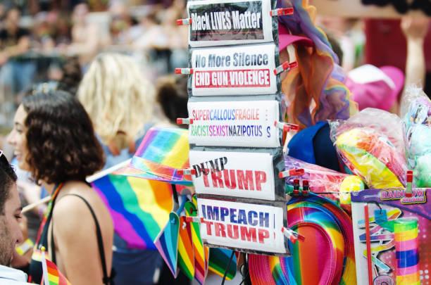 Bumper Stickers at the Miami Beach Gay Pride Parade 2018 stock photo