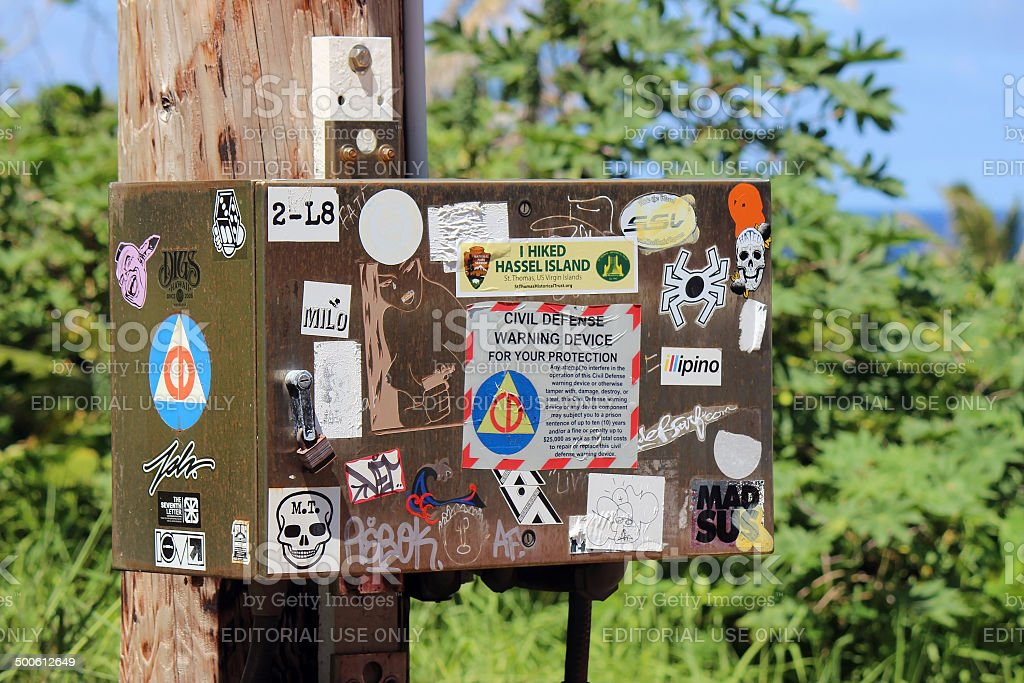 Bumper Stickers Covering Junction Box stock photo