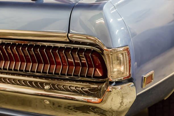 Bumper & tail light on a 1968 vintage car stock photo