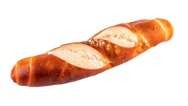 bun lye roll typical german bread isolated on white - laugenstangen stock-fotos und bilder