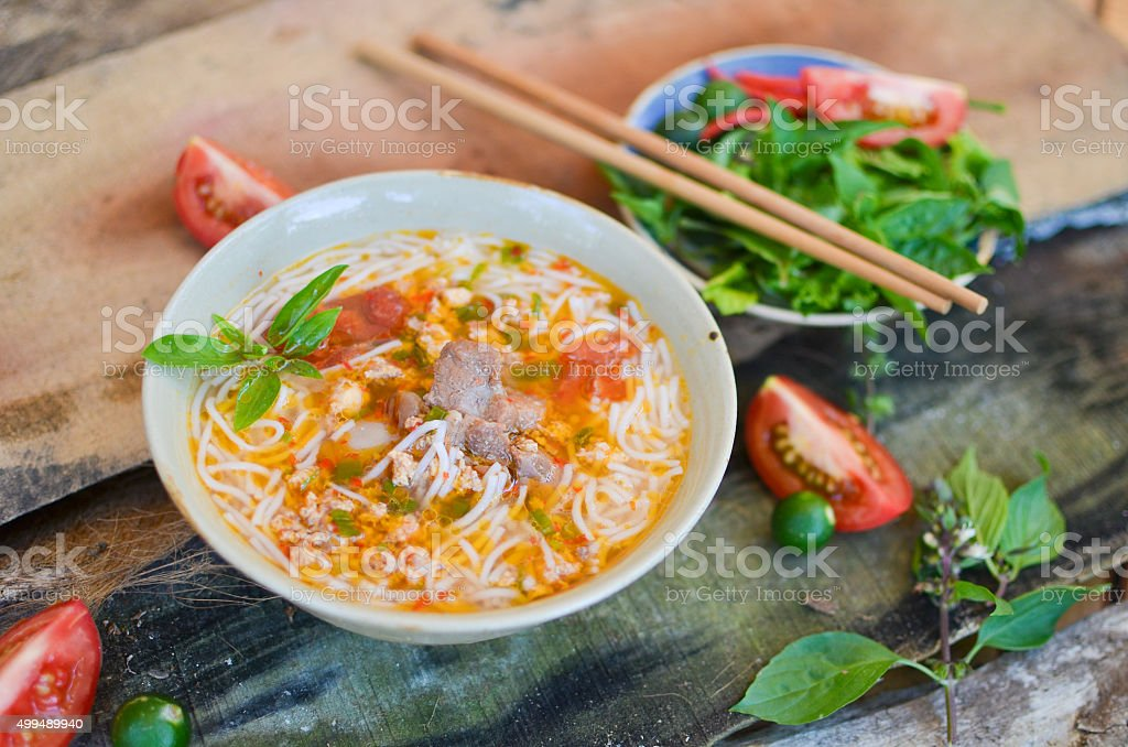 Bun rieu, a kind of vietnamese noodle soup stock photo