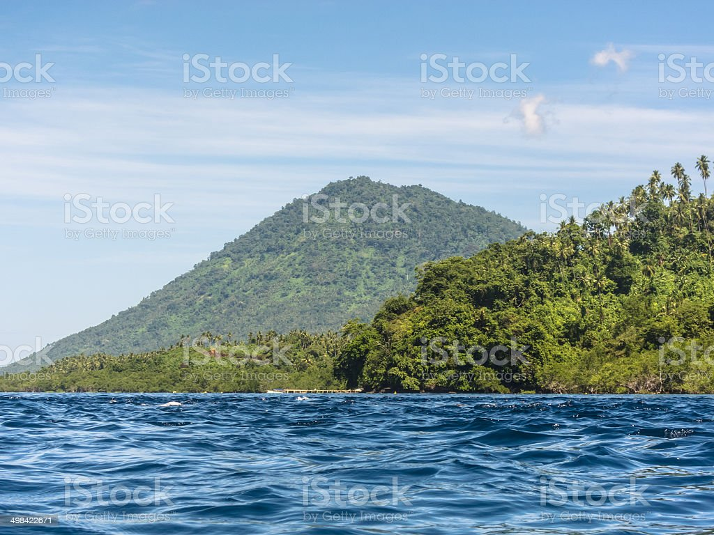 Bunaken island and volcano stock photo