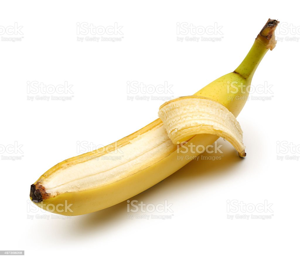 Bunch bananas and Peeled Banana stock photo