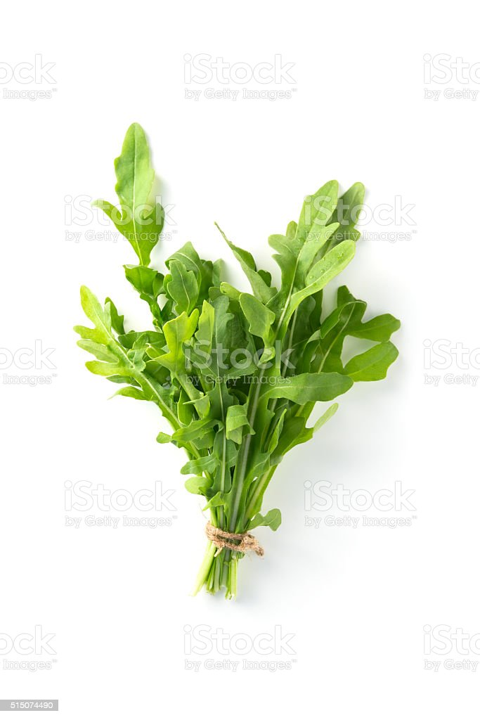 Bunch fresh arugula isolated on a white background stock photo