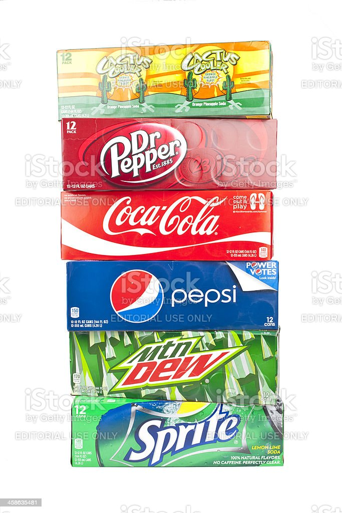 bunch of 12 pack sodas on an isolated background. stock photo
