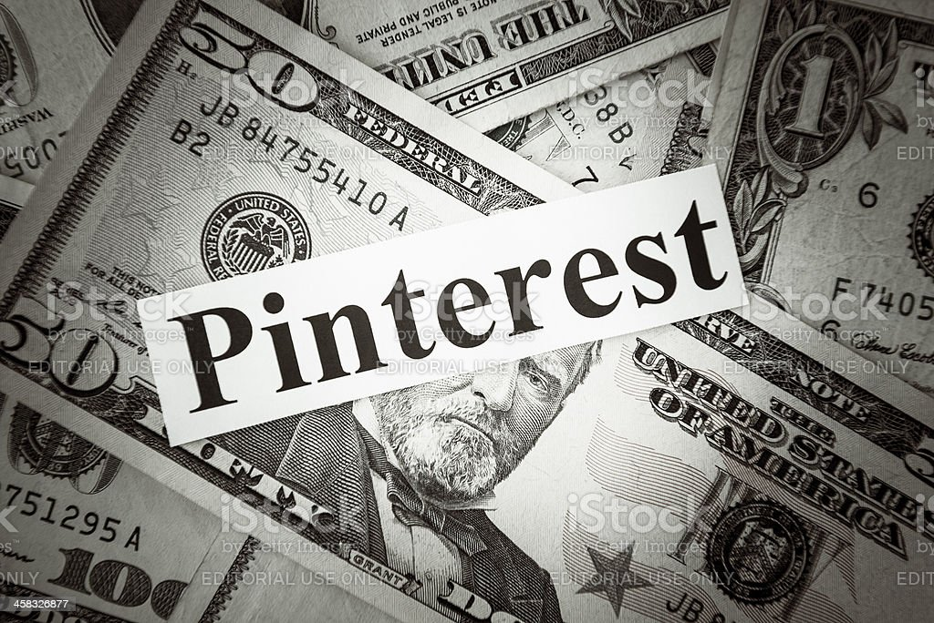 Bunch of American dollars with Pinterest text royalty-free stock photo