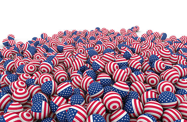 bunch of american golf balls stock photo