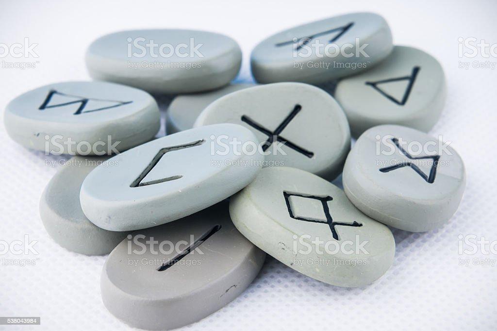 Bunch of ancient rune stones stock photo