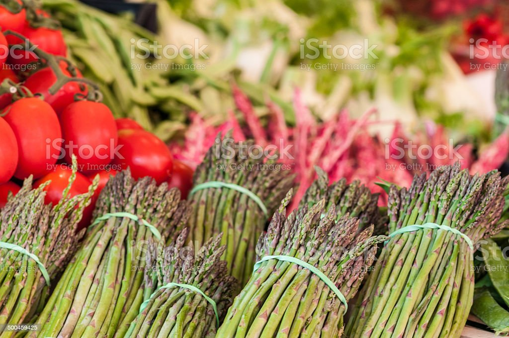 Bunch of asparagus in a street vegetable market, Venice royalty-free stock photo