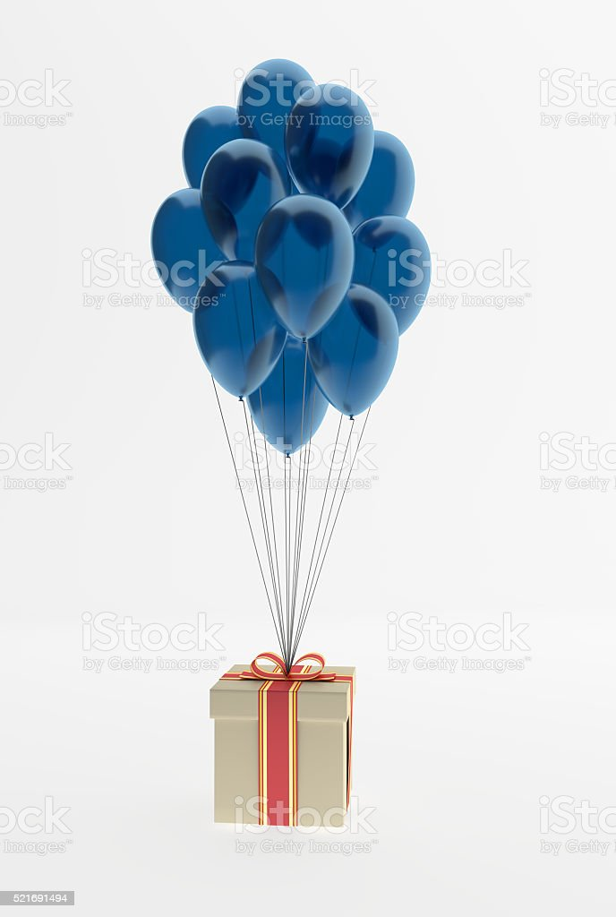 bunch of balloons and present stock photo