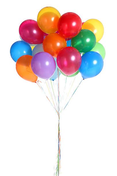 haufen bunte ballons, isoliert auf weiss - bund stock-fotos und bilder