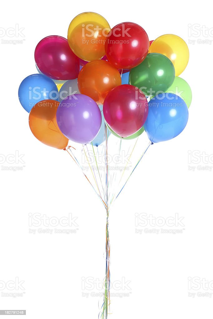 Bunch of Balloons Isolated on White stok fotoğrafı