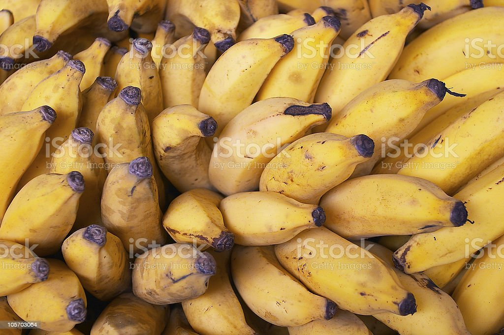 bunch of bananas in the market royalty-free stock photo
