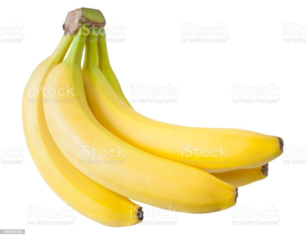 Bunch of bananas isolated on white background stock photo
