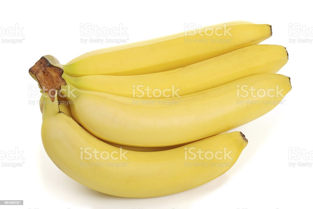 Bunch of bananas on white royalty-free stock photo