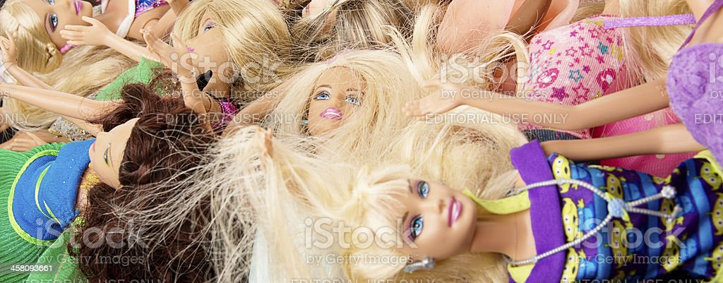 Bunch of Barbie Dolls Banner stock photo