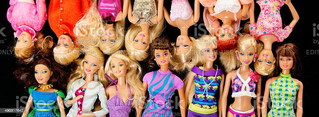 Bunch of Barbie Fashon Dolls Banner stock photo
