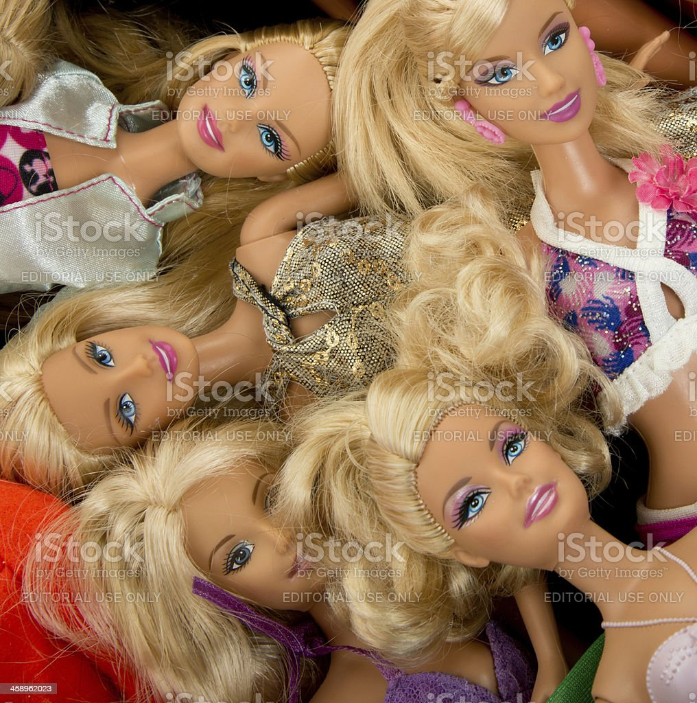 Bunch of Barbie Fashon Dolls stock photo