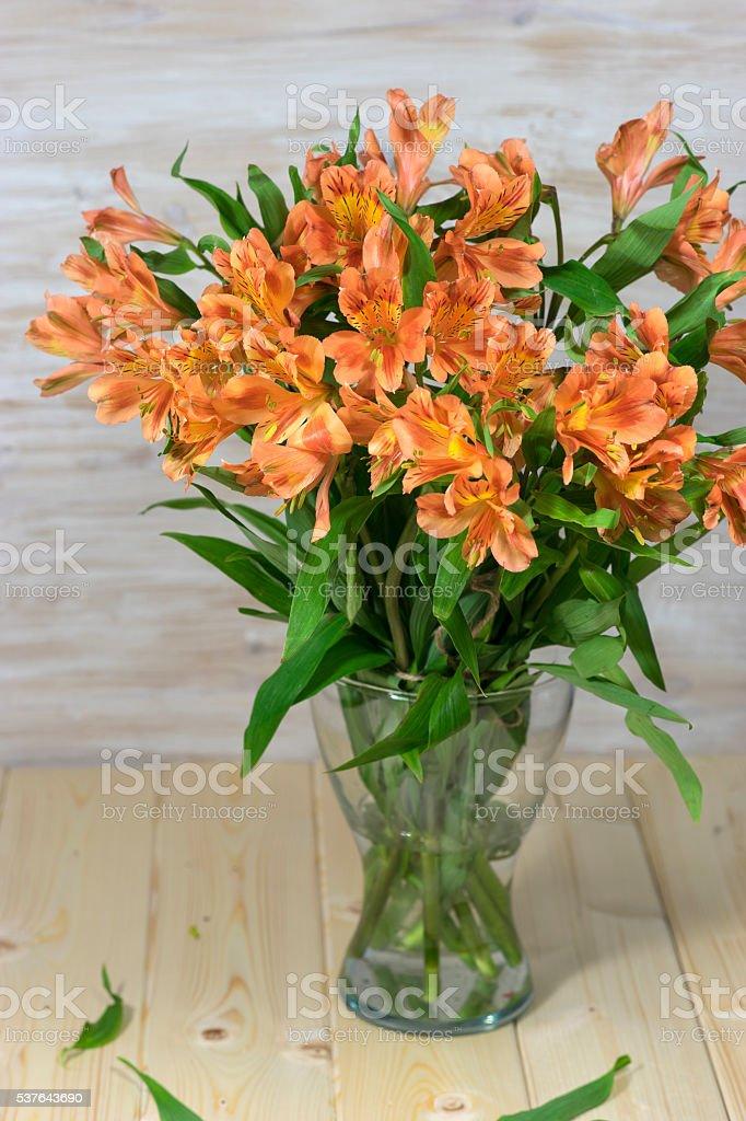 Bunch of beautiful alstroemeria flowers stock photo