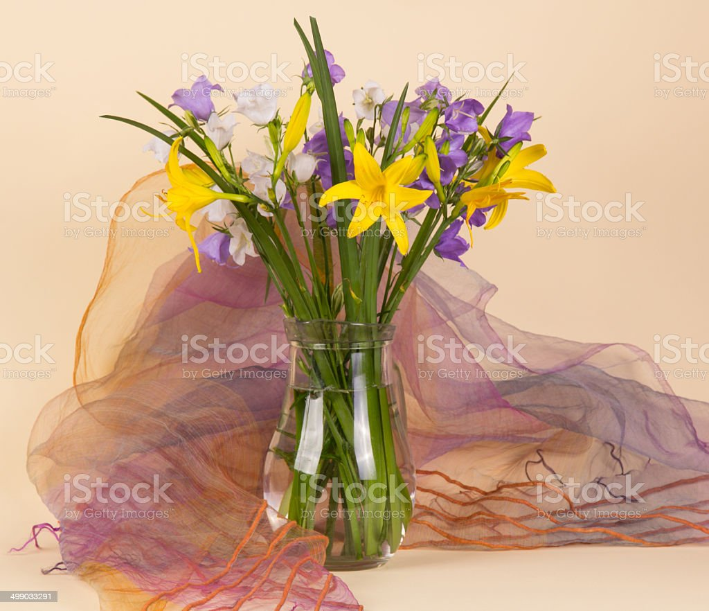 Bunch of beautiful spring flowers stock photo