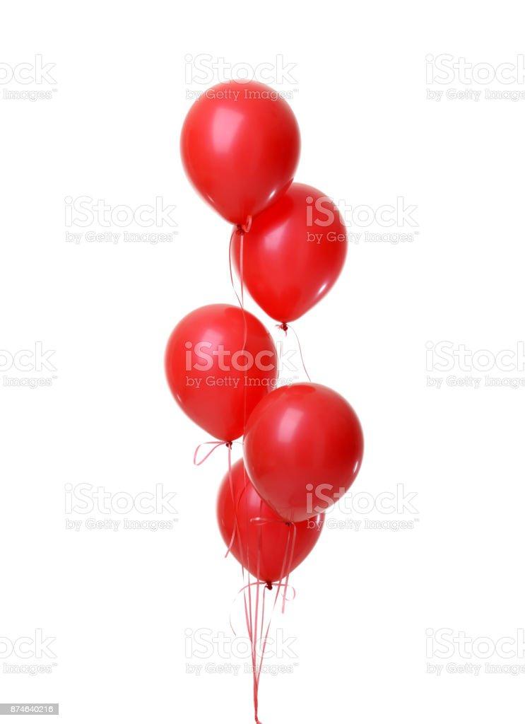 Tas de l'objet de gros ballons rouges pour la fête d'anniversaire - Photo