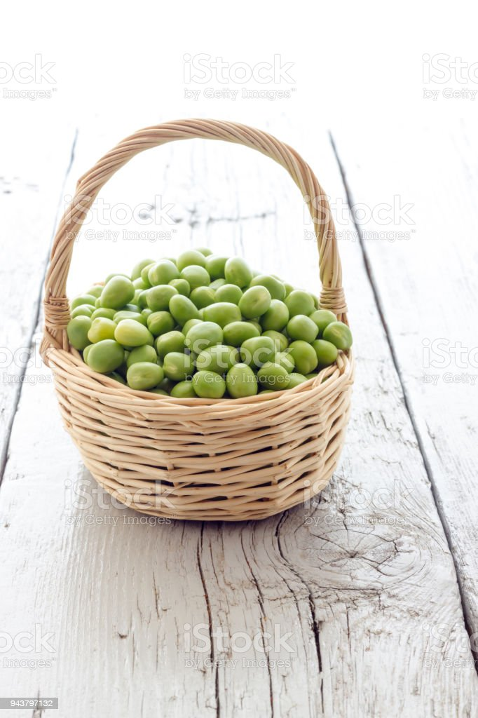 Bunch of biologic delicious green peas stock photo