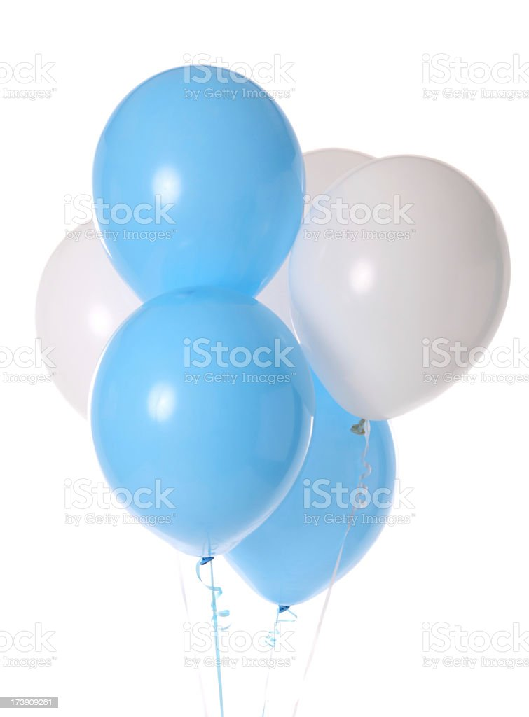 Bunch of blue and white balloons stock photo
